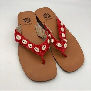 Yellow Box red beaded Thong Sandals with shells
